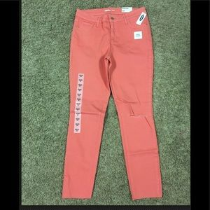 Women's Rockstar Skinny Jeans- Coral color